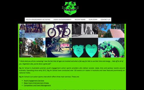 Screenshot of Home Page bigairschool.com.au - Action sports events and entertainment - captured Sept. 30, 2014