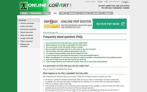 Screenshot of FAQ Page online-convert.com - Convert your media online - FAQ - captured Sept. 21, 2018