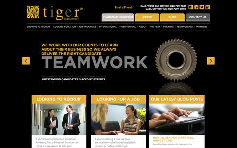 Screenshot of Home Page tiger-recruitment.co.uk - Recruitment Agency London Executive & Personal Assistant Jobs PA & EA Vacancies - captured Feb. 22, 2016