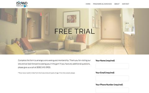 Screenshot of Trial Page islandclubandspa.com - Free Trial – Island Club and Spa - captured June 8, 2017