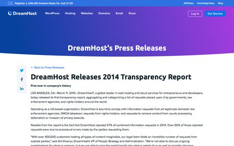 Screenshot of Press Page dreamhost.com - DreamHost Releases 2014 Transparency Report  – DreamHost - captured Feb. 21, 2020