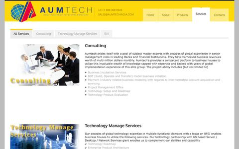 Screenshot of Services Page aumtechindia.com - Aumtech-Delivering Smart Innovative Solutions - captured Feb. 6, 2016