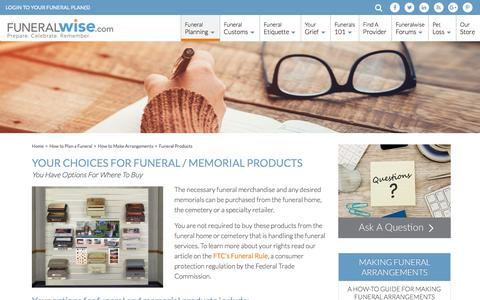 Screenshot of Products Page funeralwise.com - Funeral and Memorial Products Guide - captured July 1, 2017