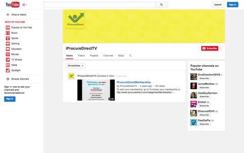 Screenshot of YouTube Page youtube.com - iProcureDirectTV  - YouTube - captured Oct. 25, 2014