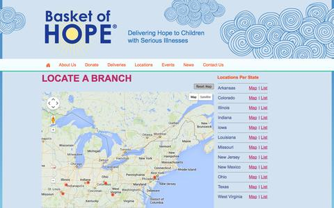 Screenshot of Locations Page basketofhope.org - Locate a Branch | Basket of Hope - captured Sept. 30, 2014