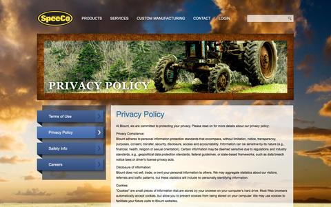Screenshot of Privacy Page speeco.com - Content Page - captured March 5, 2016