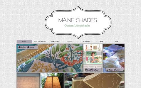 Screenshot of Home Page maineshades.com - Handmade designer lampshades made in Maine in the u.S.A. - captured Sept. 26, 2014
