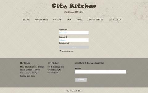 Screenshot of Login Page city-kitchen.com - Manage Menus | City Kitchen - captured Oct. 2, 2014