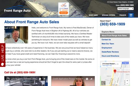 Screenshot of About Page frontrangesales.com - About Front Range Auto Sales | Quality Pre-Owned Dealer in Brighton CO - captured Feb. 26, 2018