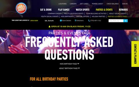 Screenshot of FAQ Page daveandbusters.com - Dave & Buster's - Frequently Asked Questions - captured Nov. 23, 2016