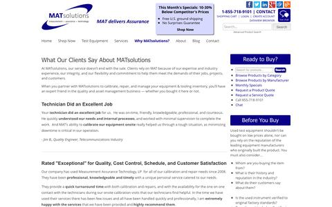 Screenshot of Testimonials Page matsolutions.com - What Our Test Equipment Clients Say About MATsolutions - captured Sept. 30, 2014
