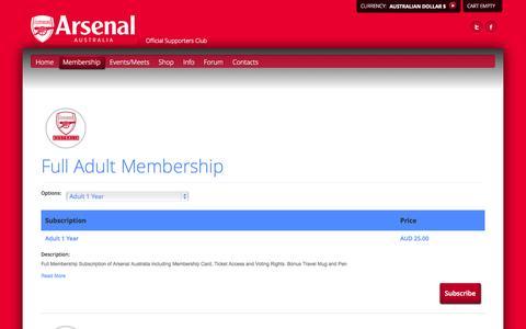 Screenshot of Signup Page arsenalaustralia.com.au - Arsenal Australia - Sign Up - captured Sept. 30, 2014