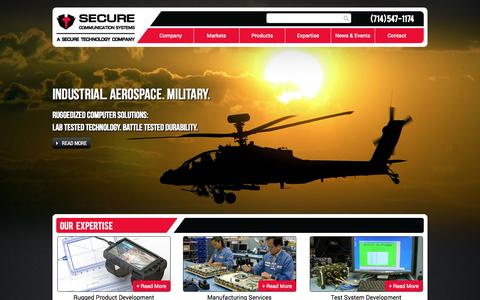 Screenshot of Home Page securecomm.com - Secure Communication Systems - Military Communication Solutions - captured Oct. 4, 2014