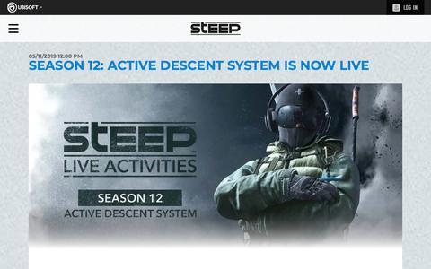 Screenshot of Press Page ubisoft.com - Season 12: Active Descent System Is Now Live | Steep Competitors Basecamp - UBISOFT - captured Nov. 8, 2019