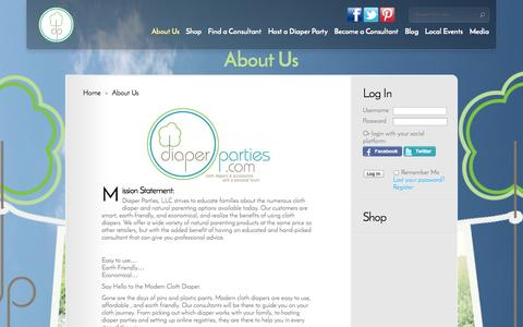 Screenshot of About Page diaperparties.com - About Us   DiaperParties.com - captured Oct. 5, 2014