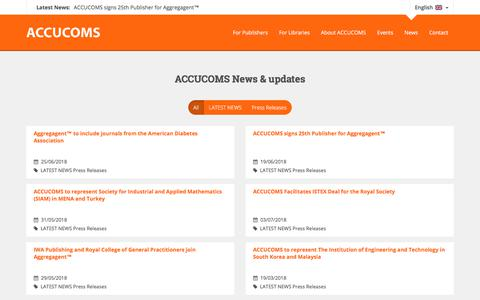 Screenshot of Press Page accucoms.com - News Archive - ACCUCOMS - captured July 28, 2018