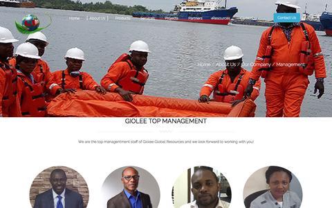 Screenshot of Team Page giolee.com - Management - captured Nov. 6, 2016