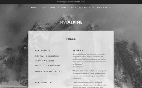 Screenshot of Press Page nwalpine.com - PRESS — NW ALPINE - MADE LOCALLY. LOVED GLOBALLY. - captured Dec. 6, 2016