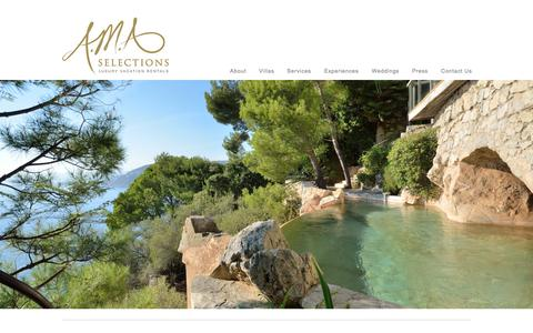 Screenshot of Home Page amaselections.com - South of France Villa Rentals | French Riviera Luxury Villas by A.M.A Selections - captured Dec. 15, 2015