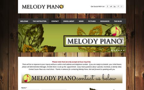 Screenshot of Contact Page melodypiano.net - Contact Melody Piano  - MELODY PIANO - captured Jan. 9, 2016