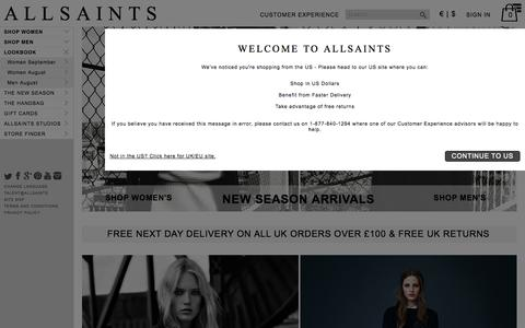 Screenshot of Home Page allsaints.com - ALLSAINTS : Men's & Women's Fashion - Clothing, Accessories & Footwear - captured Sept. 18, 2014