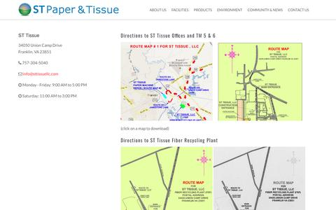 Screenshot of Maps & Directions Page stpaperllc.com - Directions to ST Tissue - captured May 26, 2017