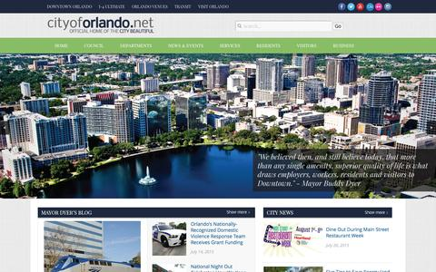 Screenshot of Home Page cityoforlando.net - City of Orlando | The Official website of the City Beautiful - captured July 21, 2015