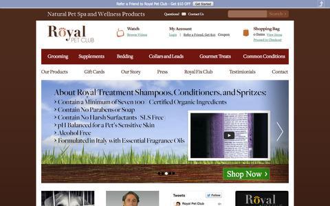 Screenshot of Home Page royalpetclub.com - Organic Dog Shampoo   Natural Dog Shampoo   Pet Supplies for Dogs - captured Oct. 1, 2014