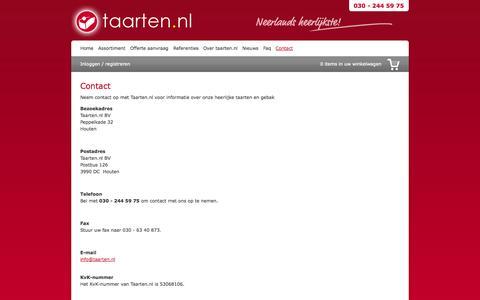 Screenshot of Contact Page taarten.nl - Contact   Taarten.nl : online taart en gebak bestellen - captured Sept. 19, 2014