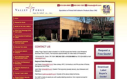 Screenshot of Contact Page vftl.com - Contact a custom label manufacturer - captured Oct. 27, 2014