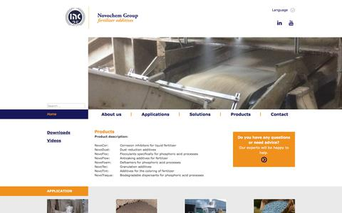 Screenshot of Products Page hollandnovochem.com - Products - Novochem Fertilizer Additives - captured March 3, 2018