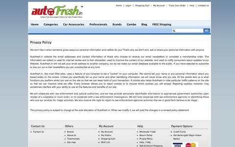 Screenshot of Privacy Page autofresh.in - Interior car care products, Exterior car care products online, wheel & tyre car care, Car Covers, car accessories, leather care, Carpet & Seat cleaners, - captured Sept. 23, 2014