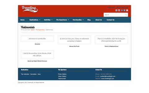Screenshot of Testimonials Page travelingid.com - Testimonials | TravelingID – Traveling Indonesia and the world - captured Oct. 7, 2014
