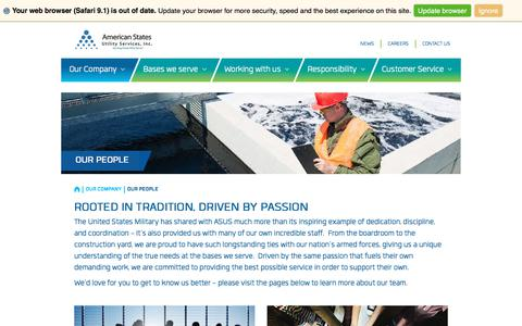 Screenshot of Team Page asusinc.com - Our People | American States Utility Services - captured Oct. 8, 2017