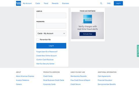 Screenshot of Login Page americanexpress.com - American Express - Login - captured Sept. 19, 2018