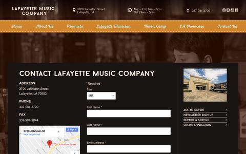 Screenshot of Contact Page lafmusic.com - Contact | Lafayette Music Company - captured Sept. 26, 2018