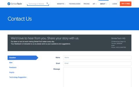 Screenshot of similartech.com - Contact SimilarTech - captured Aug. 4, 2015