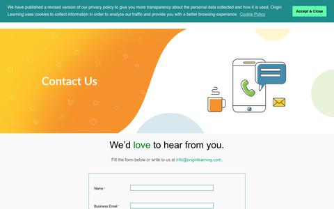 Screenshot of Contact Page originlearning.com - Contact Us - - captured Nov. 2, 2019
