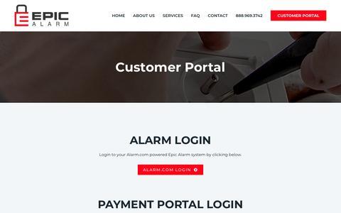 Screenshot of Login Page epicalarm.com - Customer Portal - Epic Alarm - captured July 20, 2018