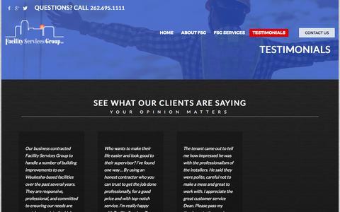 Screenshot of Testimonials Page teamfsg.com - TESTIMONIALS - Facility Services Group - captured Oct. 13, 2017