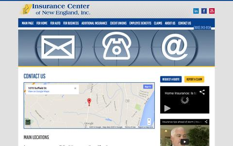 Screenshot of Contact Page Locations Page icne.com - Contact Us | Insurance Center of New England - captured Oct. 23, 2014
