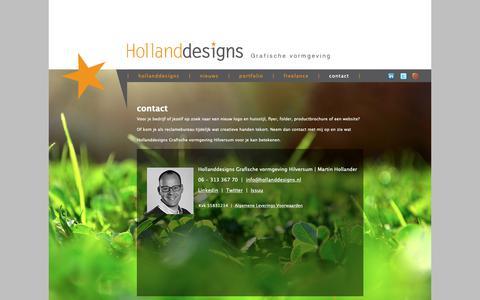 Screenshot of Contact Page hollanddesigns.nl - contact | Hollanddesigns Grafische vormgeving Hilversum - captured Sept. 29, 2018