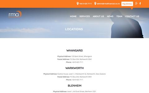 Screenshot of Locations Page rmafinancial.co.nz - Locations | RMA Financial Risk management services |RMA – creating you a safe and secure financial future - captured Oct. 22, 2017