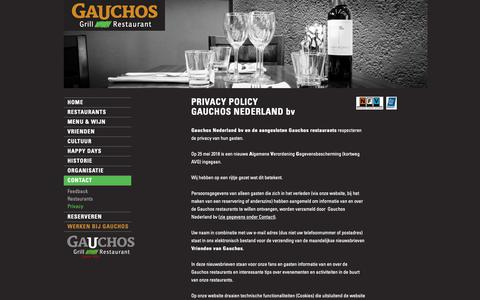 Screenshot of Privacy Page gauchosgrill.nl - Gauchos Grill-Restaurants - captured Sept. 27, 2018