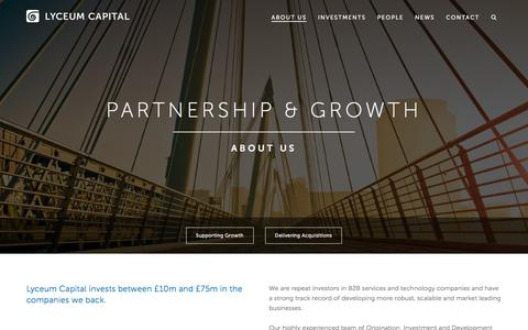 Screenshot of About Page lyceumcapital.co.uk - About Lyceum Capital — partners for growth - captured May 24, 2017