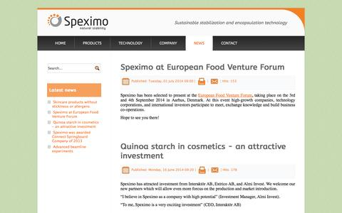 Screenshot of Press Page speximo.com - News - Speximo | Starch Pickering Emulsion Technology - captured Oct. 6, 2014