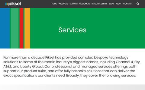 Screenshot of Services Page piksel.com - Services | Software Design & Development Services | Piksel - captured Sept. 22, 2018