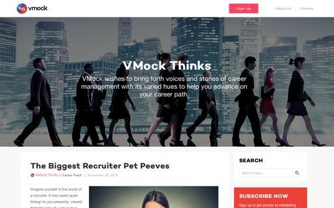 Screenshot of Blog vmock.com - VMock Thinks - The daily career feed from VMock - captured Nov. 30, 2016