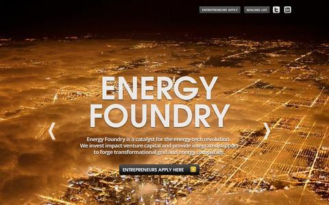 Screenshot of Home Page energyfoundry.com - Energy Foundry - Forging Companies, Catalyzing Growth - captured Sept. 30, 2014
