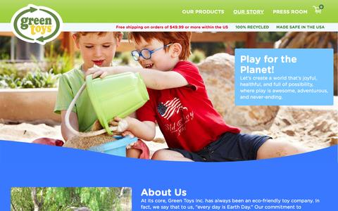 Screenshot of About Page greentoys.com - OUR PASSION | Green Toys - captured Feb. 2, 2016